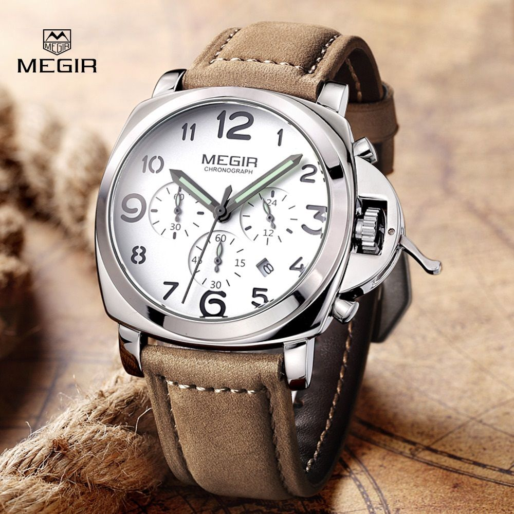 US $56.87 - Top Luxury Brand MEGIR Quartz Watches Men Analog Military Chronograph Clock Men Sports Leather Strap Casual Wrist Watch 2016 New