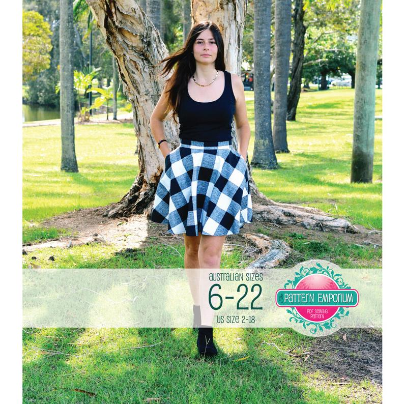 Pattern Ladies Circle Skater Skirt Pdf Sewing Pattern Instant
