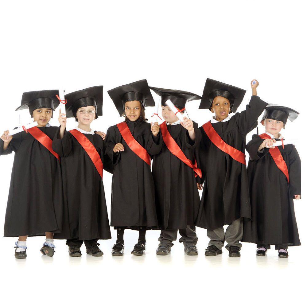 Graduation Black Gown Sash & Cap fancy dress school 3-5 & 5-7yrs ...