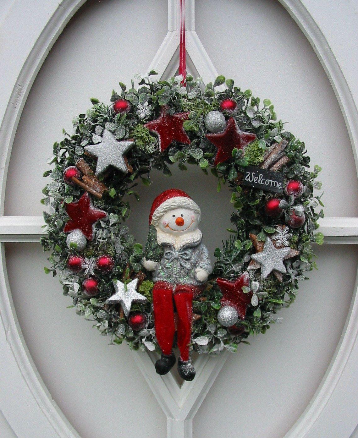 t rkranz schneemann dekokranz winterkranz kranz winter weihnachten 30 cm ebay. Black Bedroom Furniture Sets. Home Design Ideas