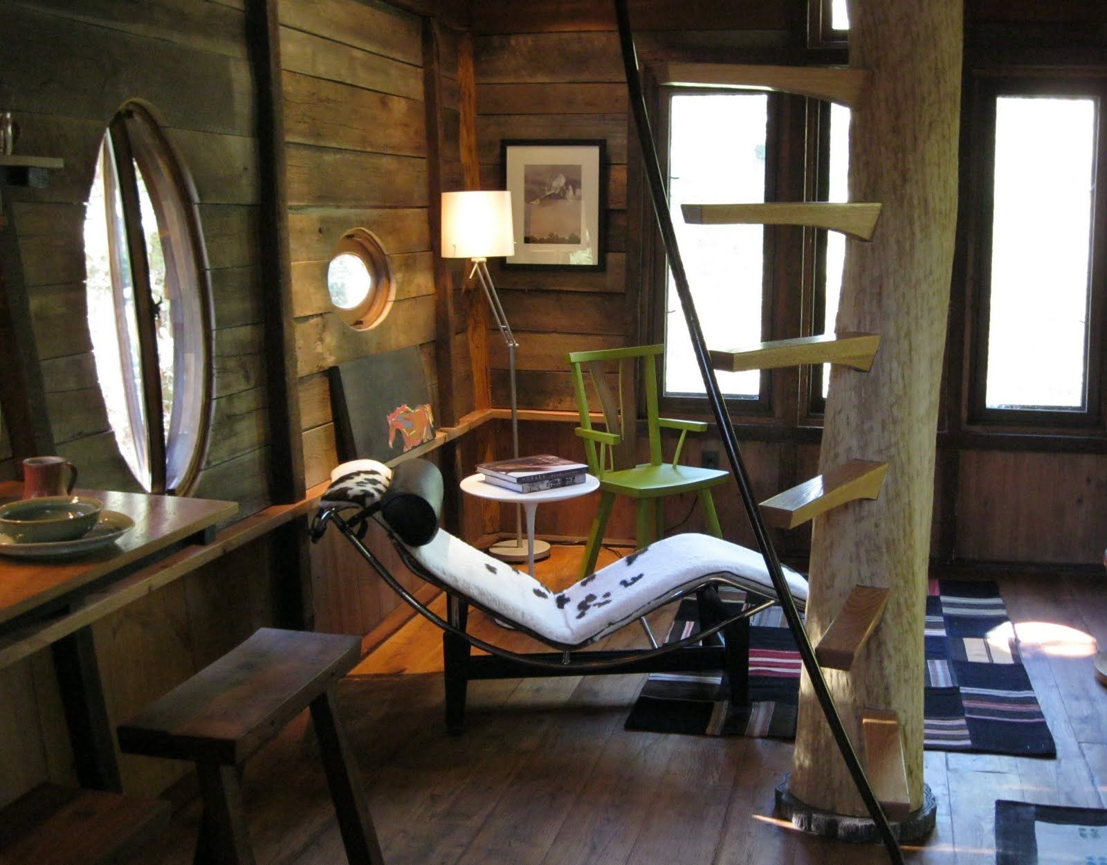 Interior Design, Cool DIY Tree House Interior Design Jobs With Floating  Spiral Stair Wooden Wall