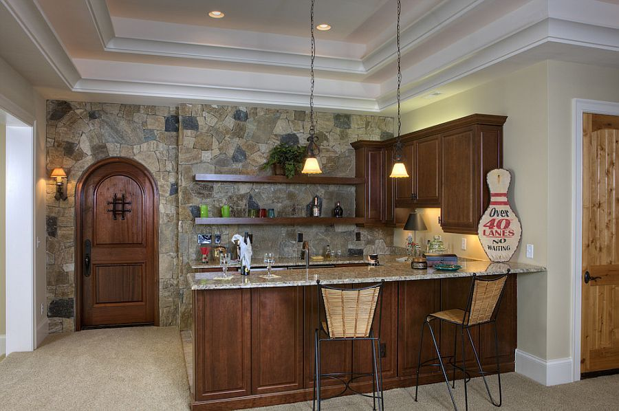 Pisgah Brown And Charcoal Stone Accent Wall For The Small Kitchen