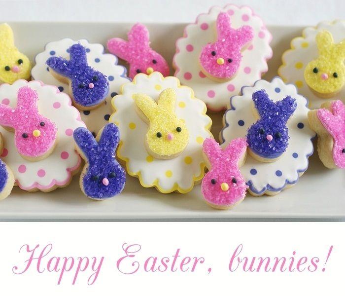 Adorable Easter bunny cookies from @bakeat350tweets