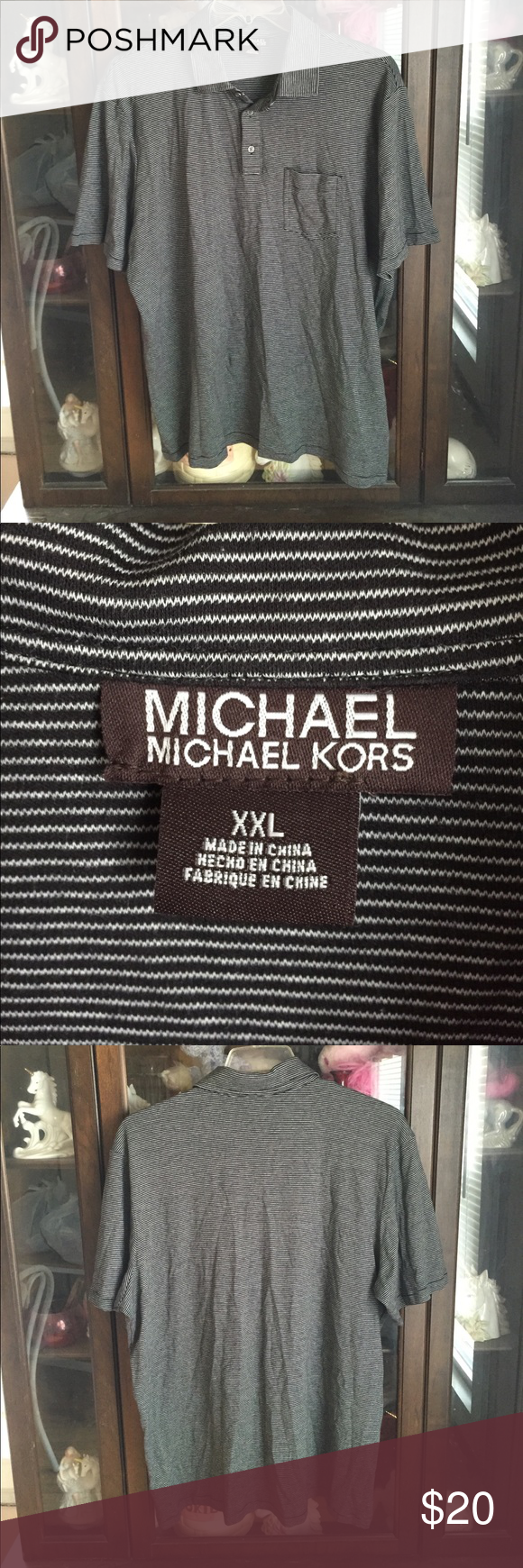 Men's Michael Kors Black Striped Polo Sport Shirt This item is in great shape! Armpit to armpit is 28. Armpit to sleeve is 4. Back of collar to bottom is 31. MICHAEL Michael Kors Shirts Polos