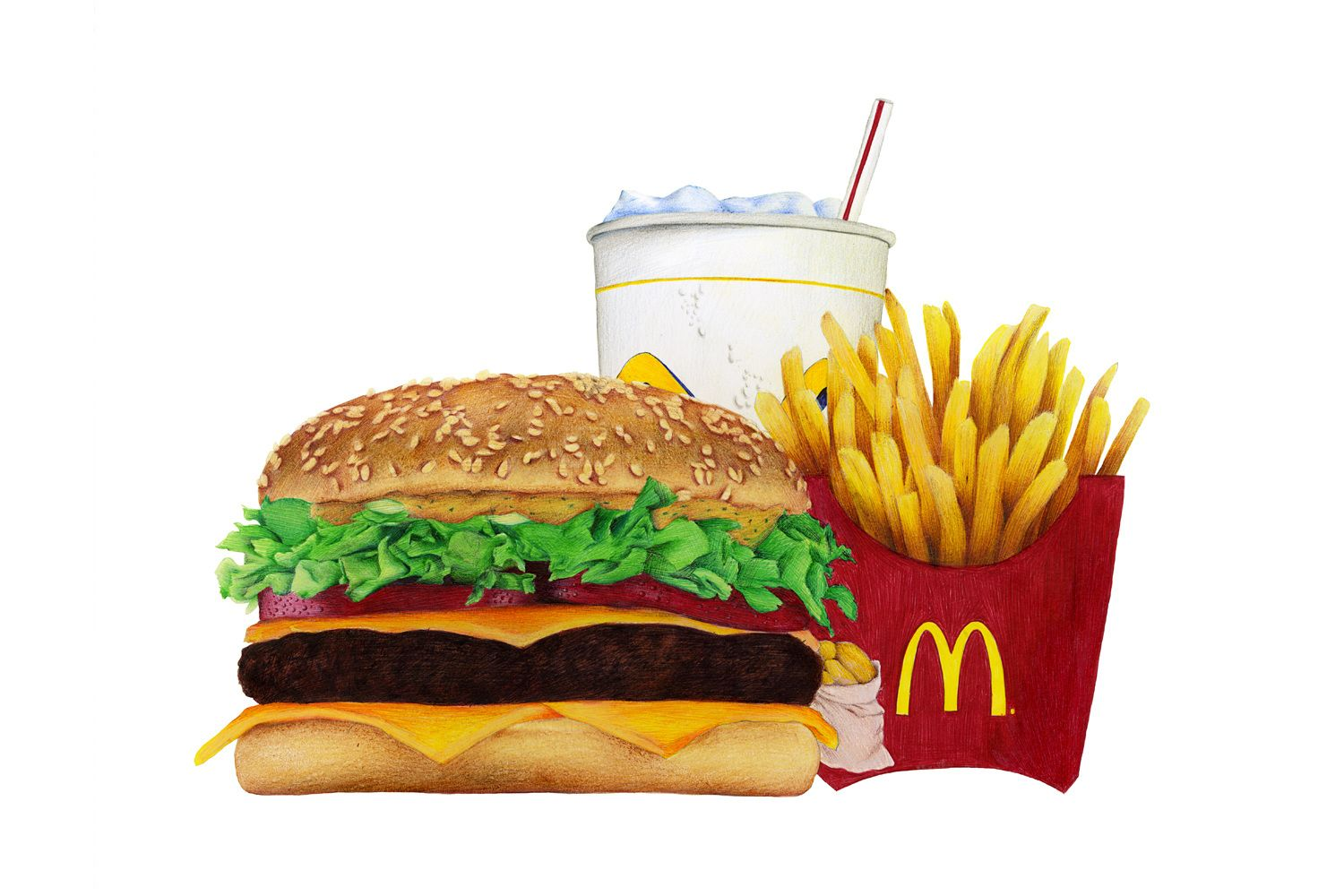 Biro Pen Illustration Burger Big Mac Drawing C Sarah Esteje Illustrations Alimentaires Alimentaire Illustration
