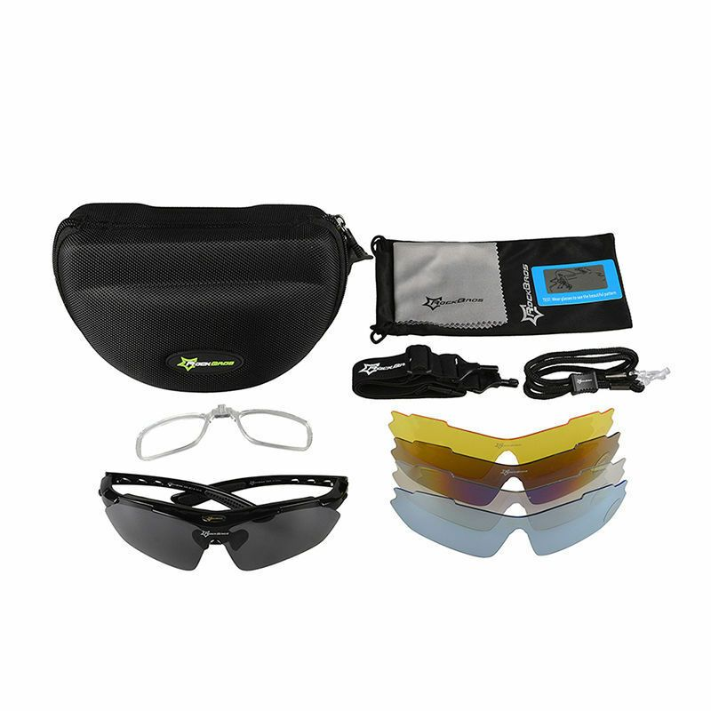 RockBros Cycling Outdoor Sport Goggles Polarized Glasses Sunglasses 5 Lens Black