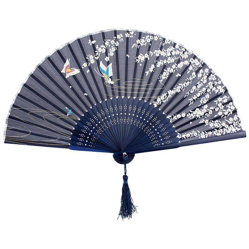2016 1pcs chinese japanese flower floral fabric folding hand fan cartoon butterfly print fan - Japanese paddle fan ...