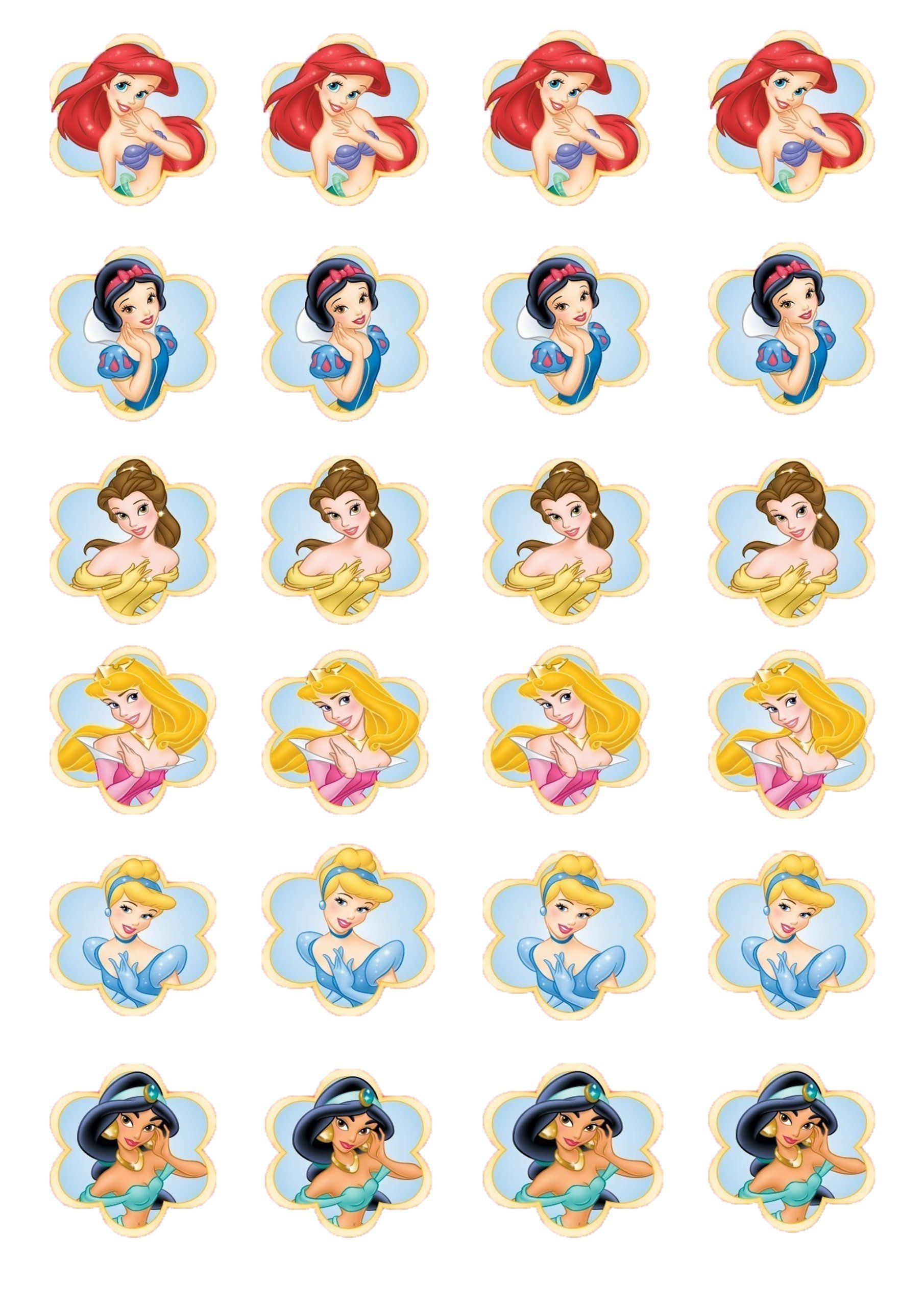 24 Disney Princesses Edible Cup Cake Topper Decorations By Topped Off