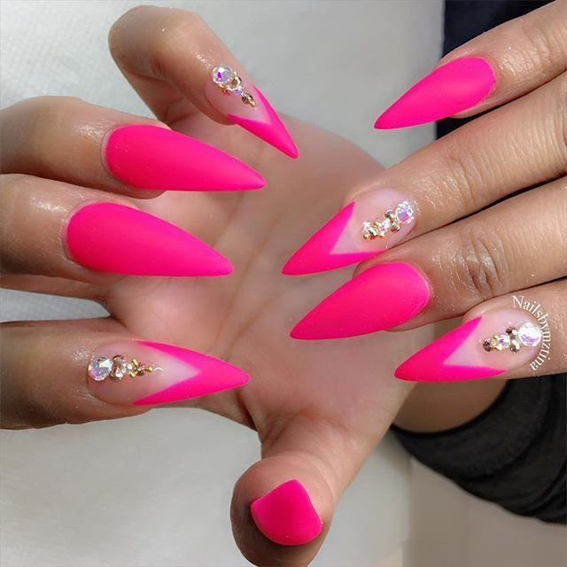 Neon Hot Pink Matte Stiletto Nails Pink Stiletto Nails Powder Nails Gel Nails