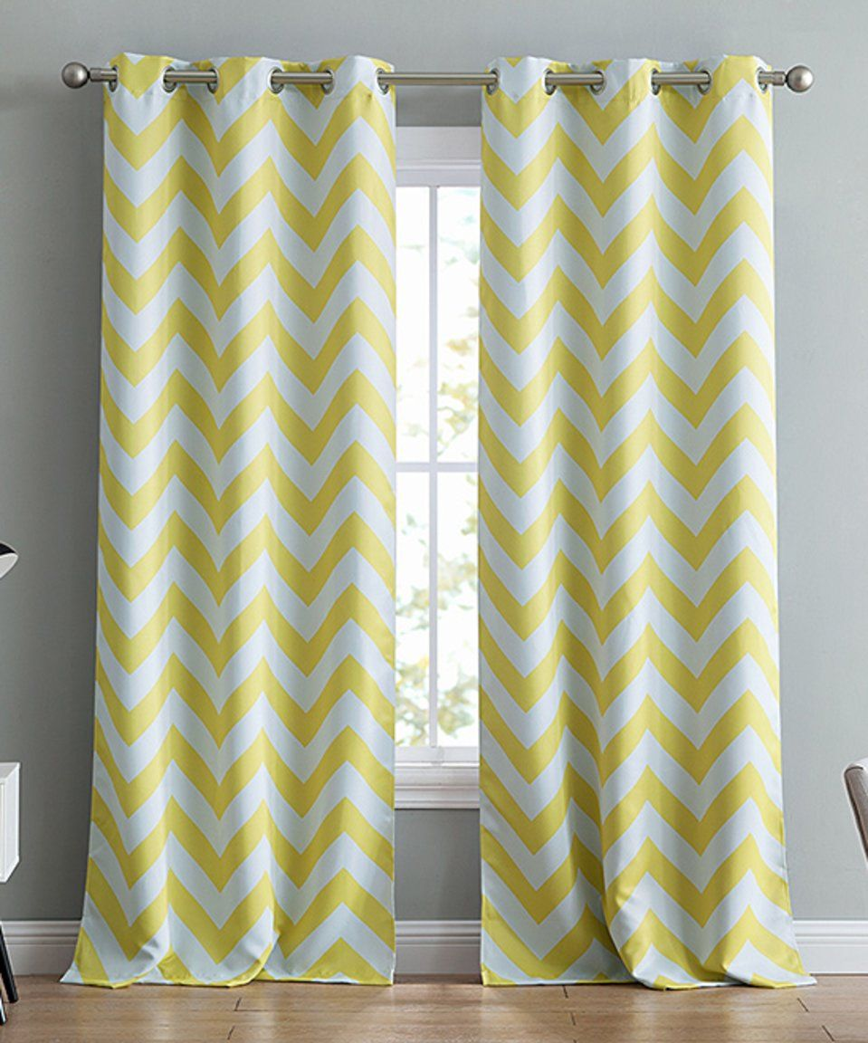 Take A Look At This Bright Yellow Chevron Blackout Curtain Panel