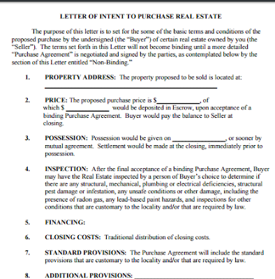 LETTER OF INTENT TO PURCHASE REAL ESTATE letter of intent