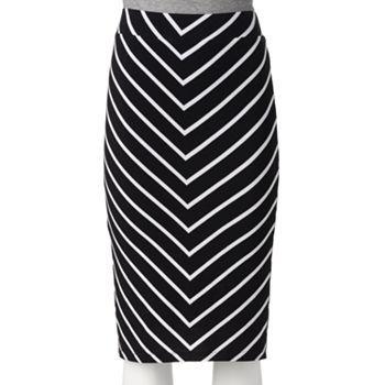Apt. 9® Striped Midi Pencil Skirt - Petite