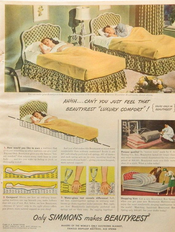 Vintage Bedroom Ad -- Simmons Beautyrest Twin Beds - 1940s Magazine ...