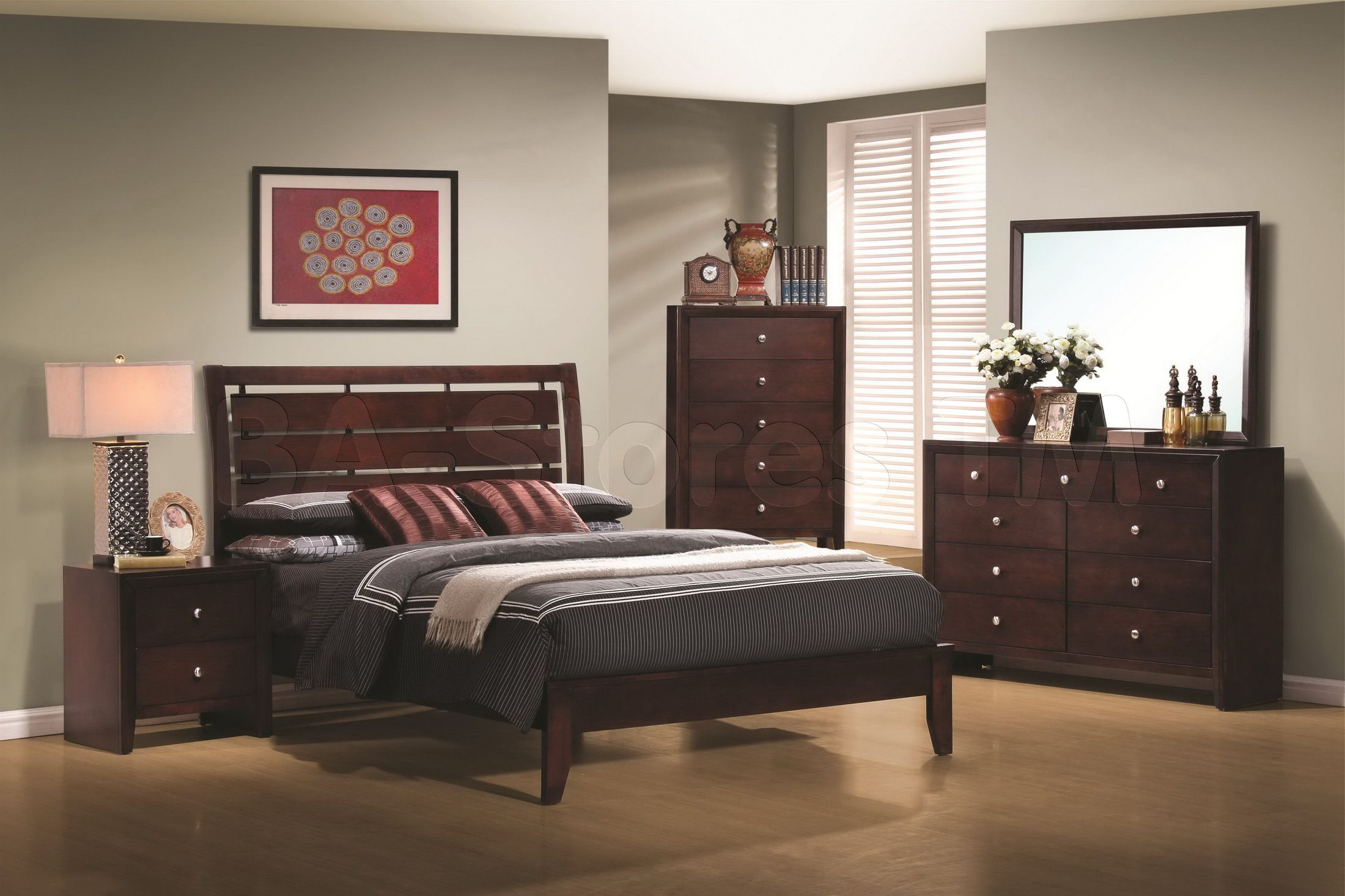Serenity 5 PC Bedroom Set (Bed, Nightstand, Dresser, Mirror And Chest)