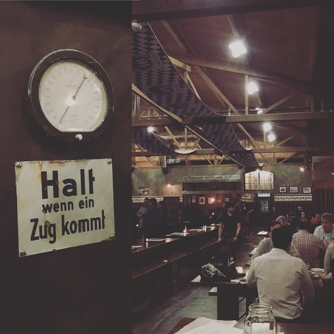 Beer garten lots of German and polish signage and an old factory. Yes please! Oh and country music at 6pm