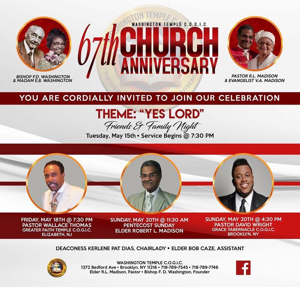 Washington Temple COGIC 67th Church Anniversary on May 15th