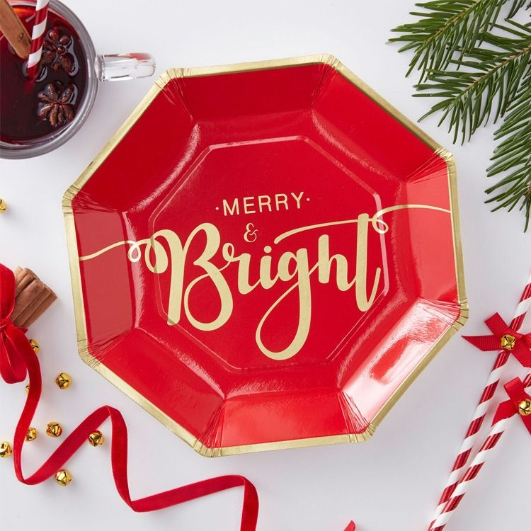Merry Bright Paper Party Plates Christmas Tableware Christmas Paper Plates Merry Bright Christmas