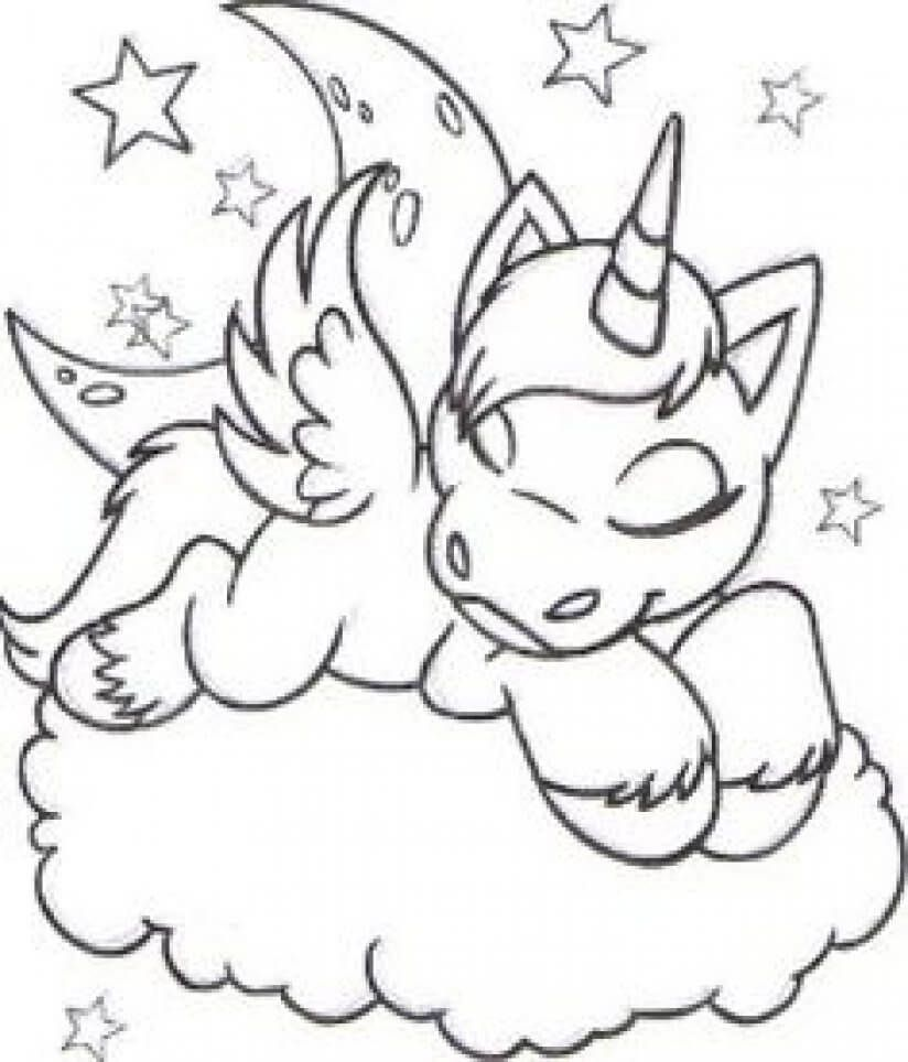 Sleeping Unicorn Coloring Page Unicorn Coloring Pages Animal Coloring Pages Cute Coloring Pages