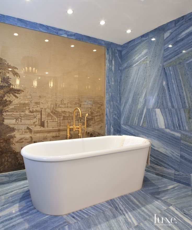 The Master Bathroom Boasts Blue Marble And A Tub From