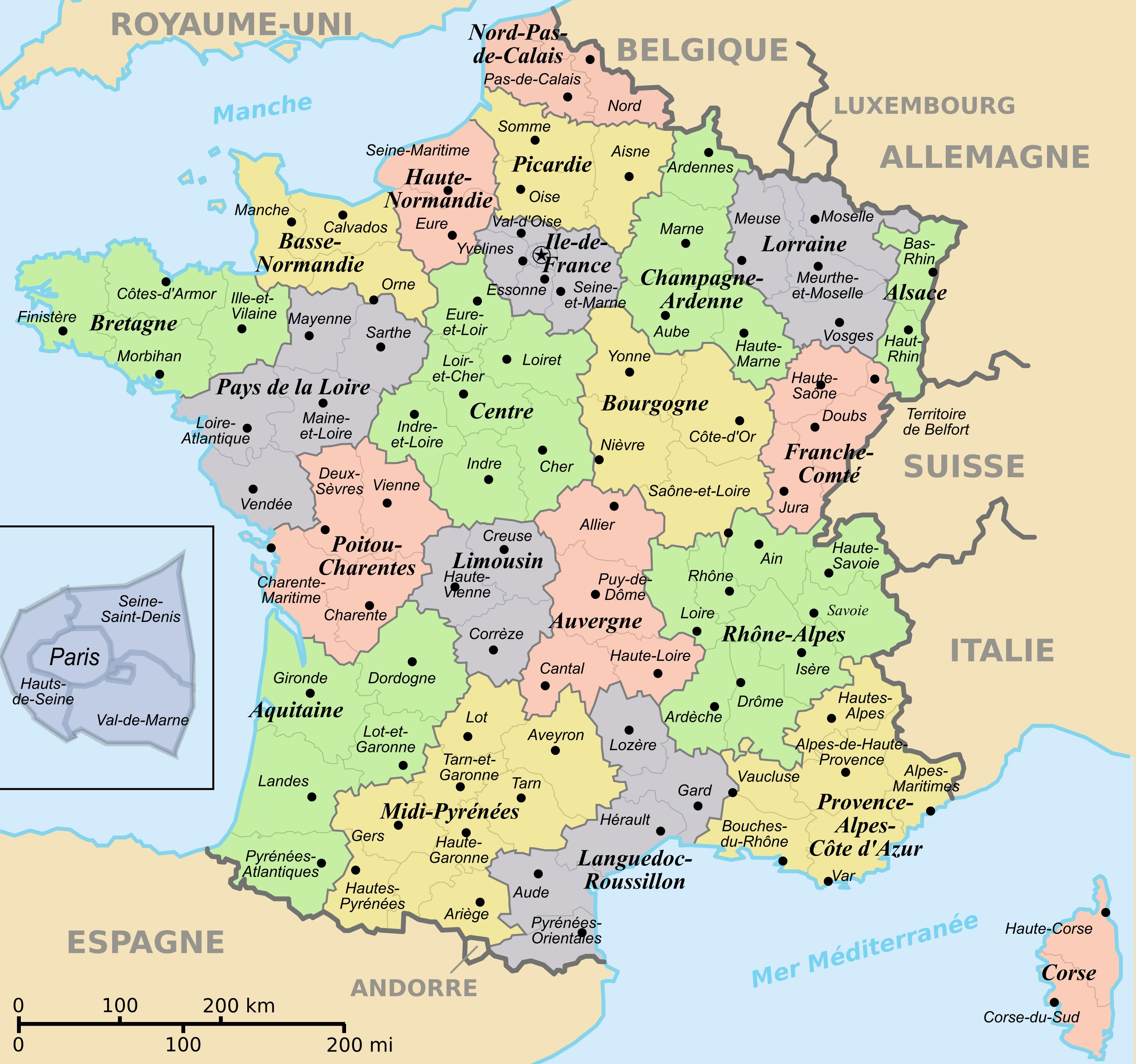 Regions and departements map of France France map