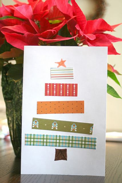 christmas tree cards with extra ribbon! Easy for kids to make