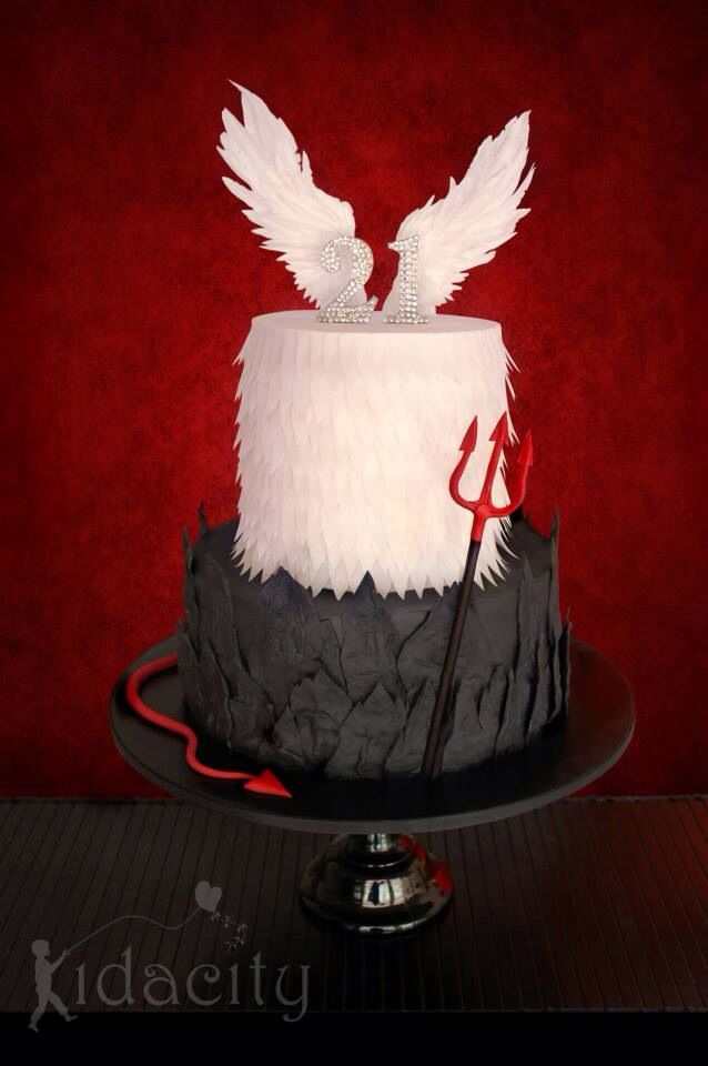 Devil vs Angel cake Love it Ideas for bday cake Pinterest