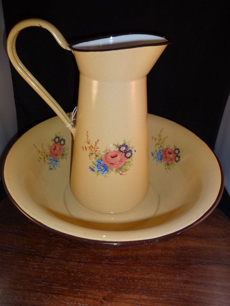Tinware Enamel Ware Wash Bowl and Pitcher Yugoslavia Flower Brown Tan