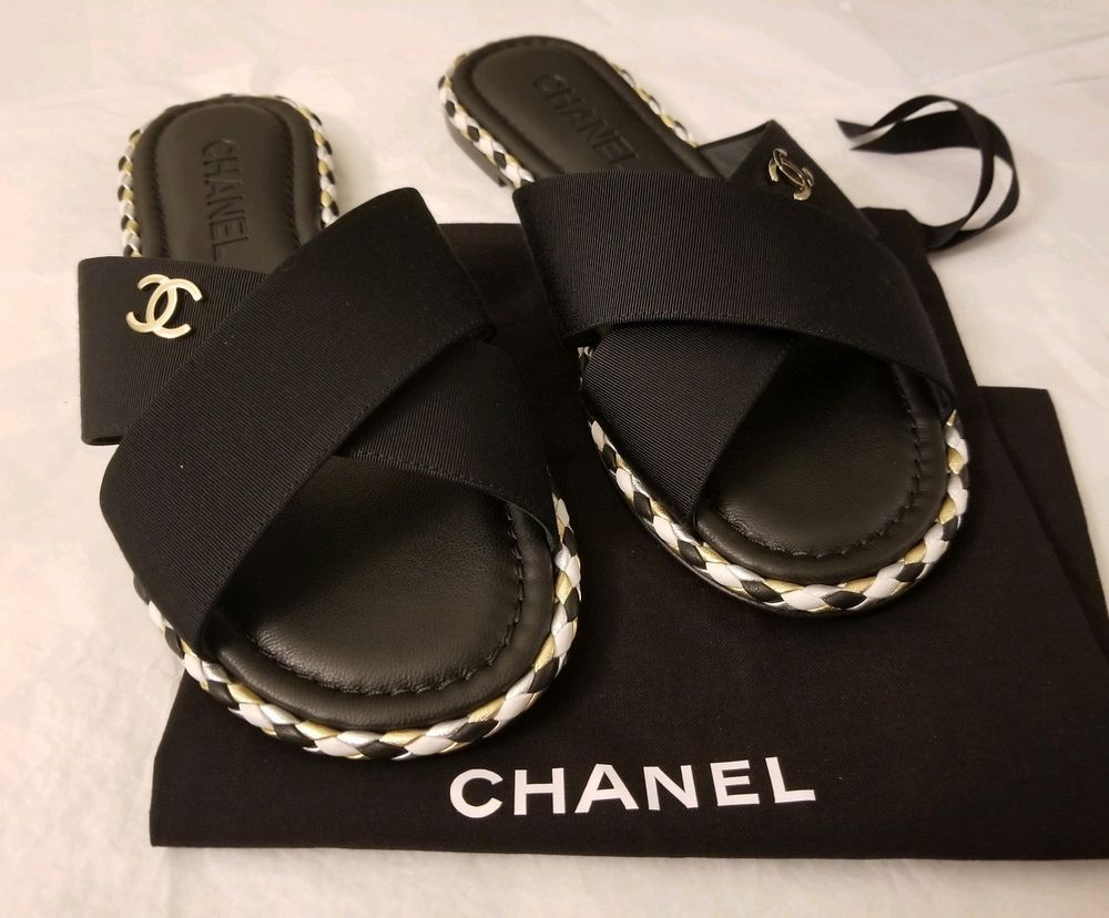 315a31d91642 Chanel Grosgrain Cross-Strap Sandals Mules - Black - Size 37 - NWOB  fashion