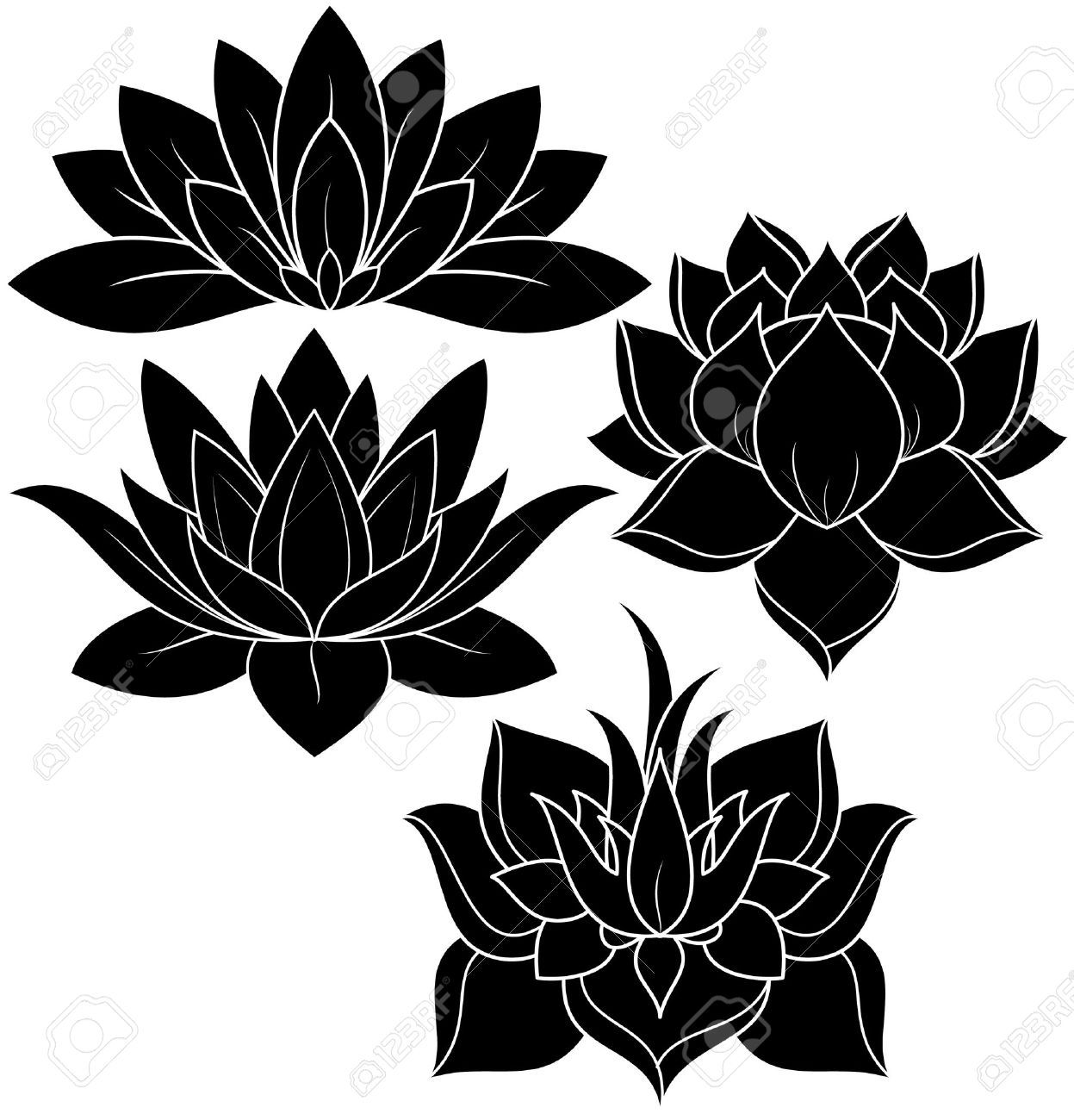 illustration of set lotus silhouette tattoos pinterest