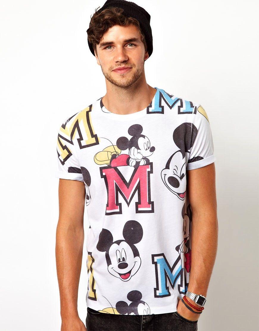 FIND Camiseta con Estampado de Mickey para Hombre I8duFW