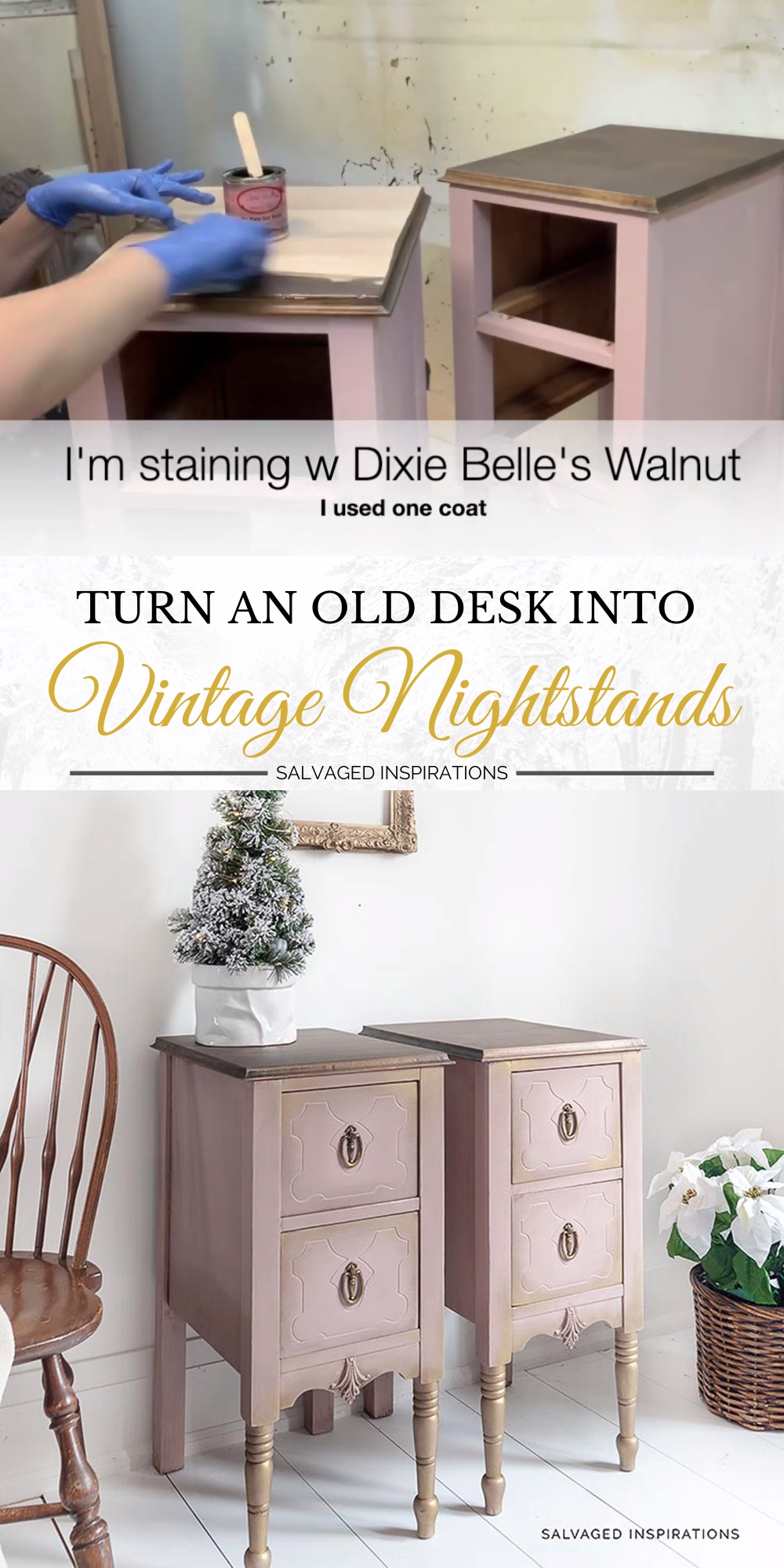 Turn An Old Desk into Vintage Nightstands -   17 diy projects Furniture thrift stores ideas