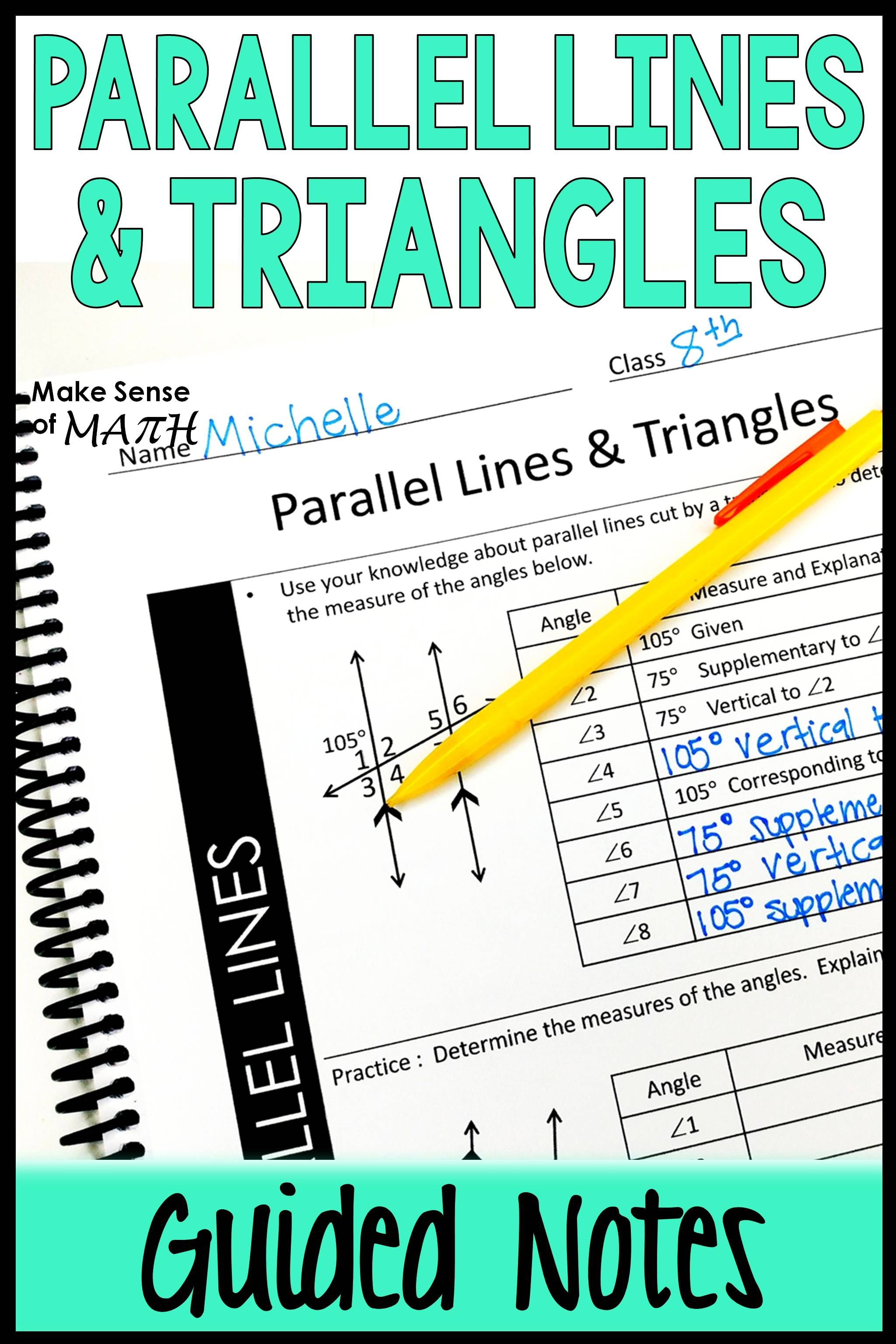 Parallel Lines With Transversals And Triangles Guided