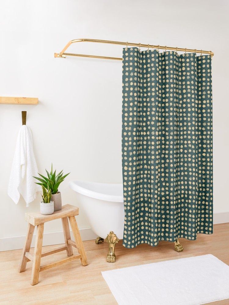 Gold Dots On Dark Green Soft Pastel Shower Curtain By Blertadk