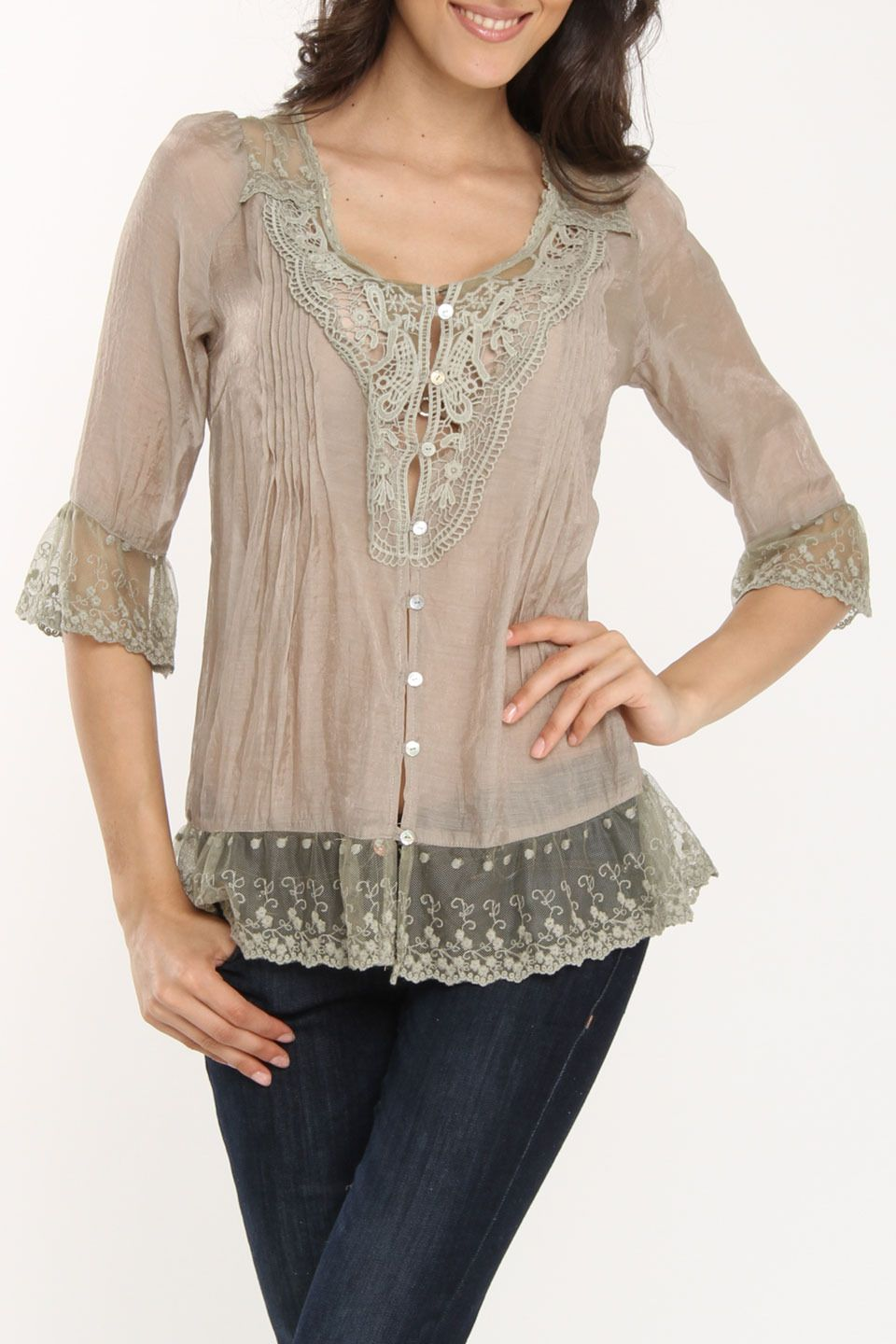 Unavailable david kahn mission top in taupe beyond the rack