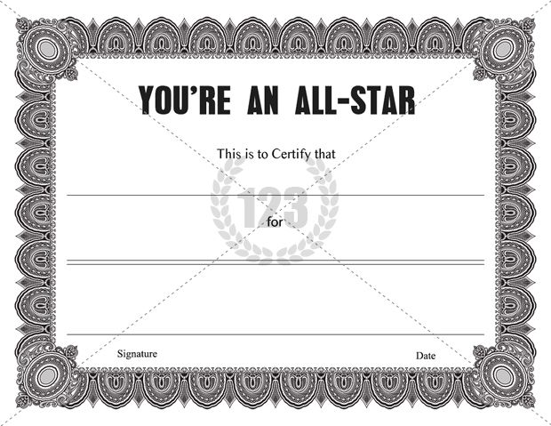 Youre an all star certificate template certificate templates its is an arts competition or a sports meet whoever performing the best in all items can be awarded with this youre an all star certificate template yelopaper Choice Image