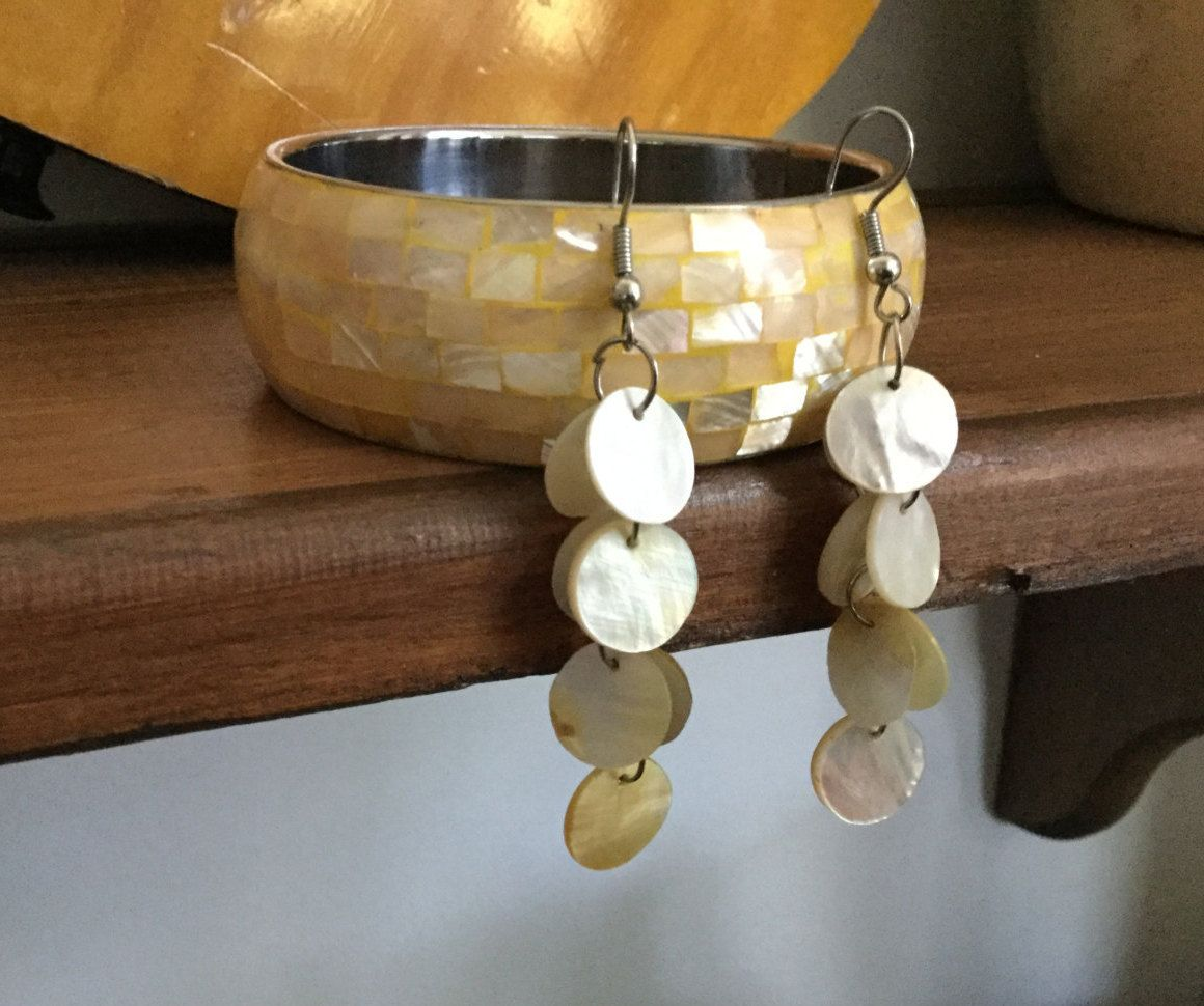 Yellow and White Mother of Pearl Jewelry Set, Bracelet and Earrings, Shell Earrings and Bangle Bracelet by RevealedTreasuresByL on Etsy