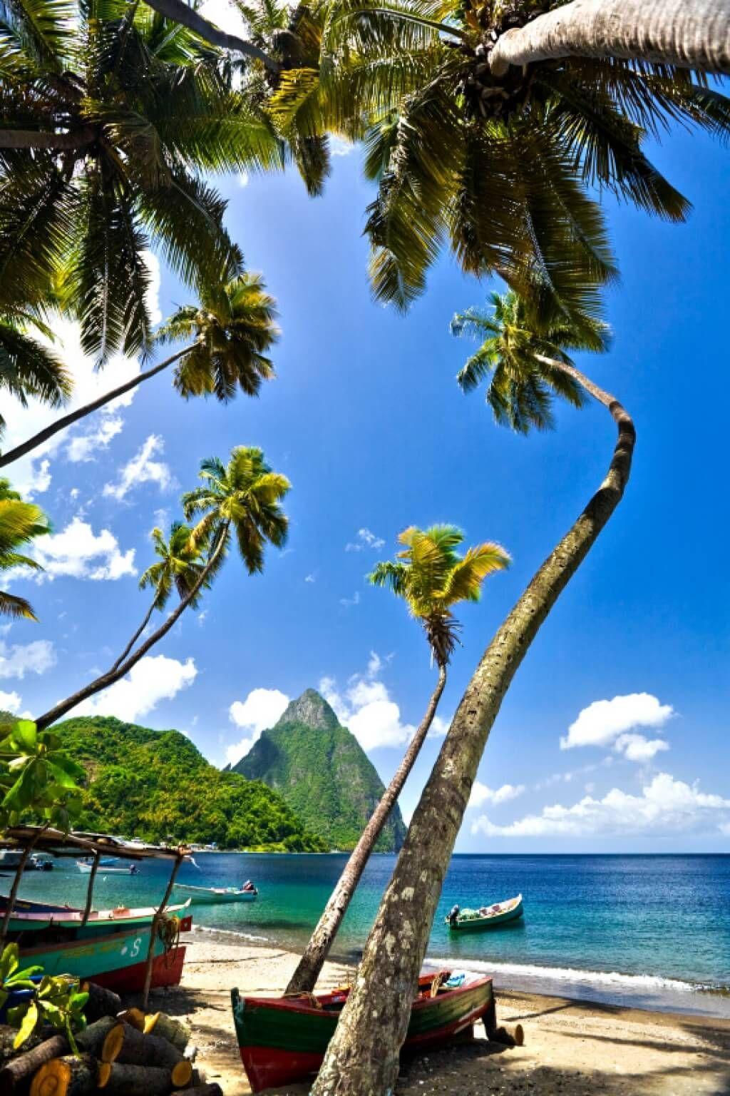 Beach on island of St Lucia in the Caribbean #stlucia #caribbean #sea #ocean #islands #island #holid...