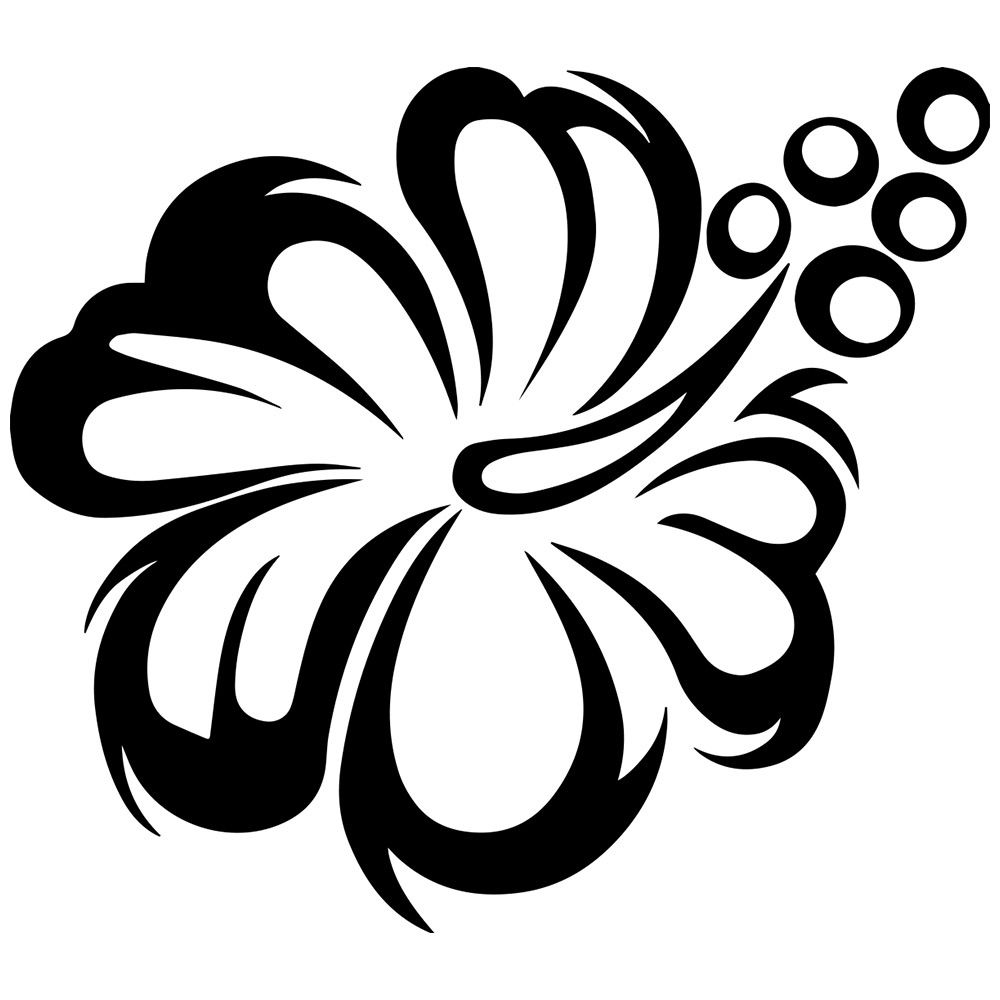 Flower Clipart Black And White Free Download Hawaiian Tattoo Flower Clipart Flower Stencil