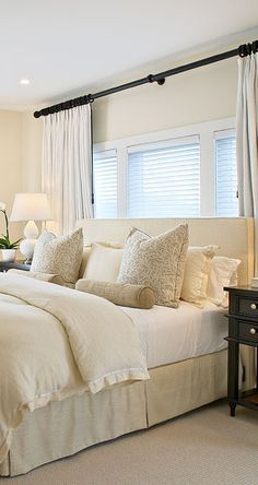 Love the neutral shades contrasting with the dark wood Dark wood ...