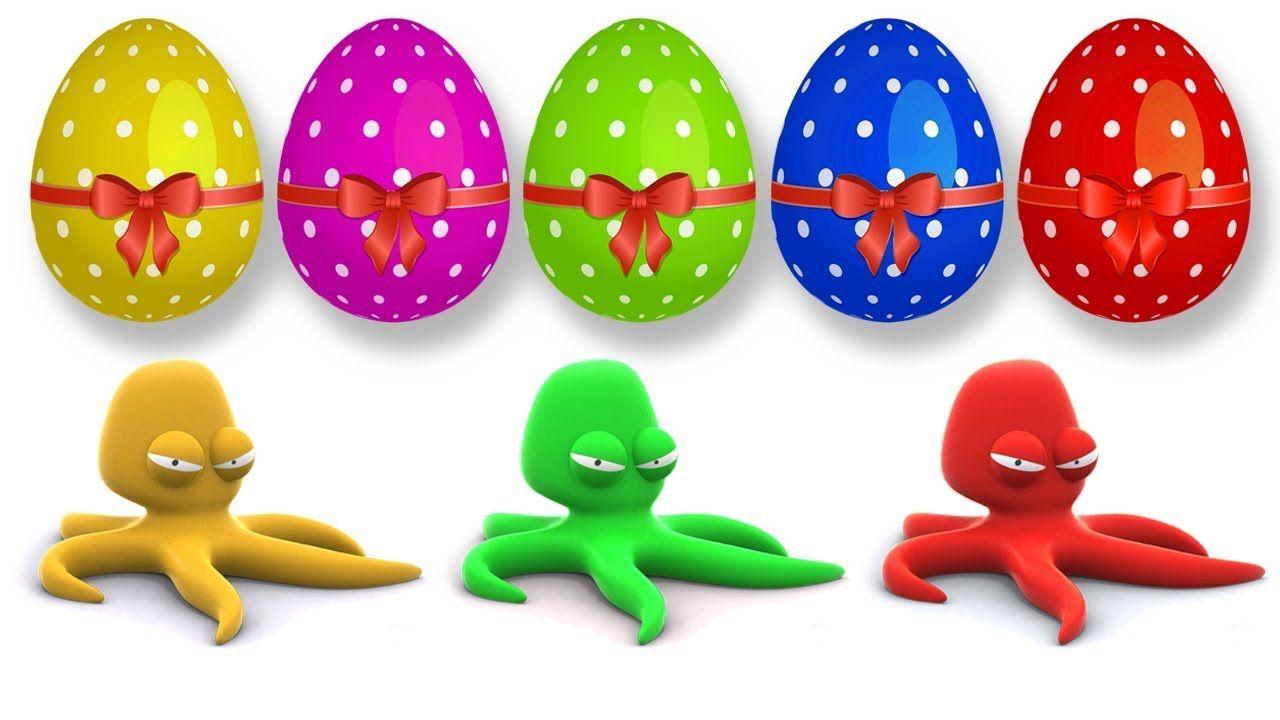 Learn Colors with Surprise Eggs and Octopus Ocean Animals Finger ...
