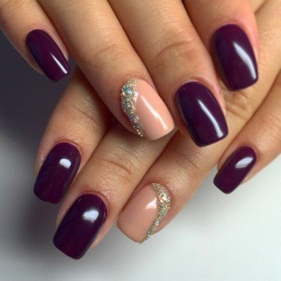 Nails design short nails dark purple and beige lacquer ...