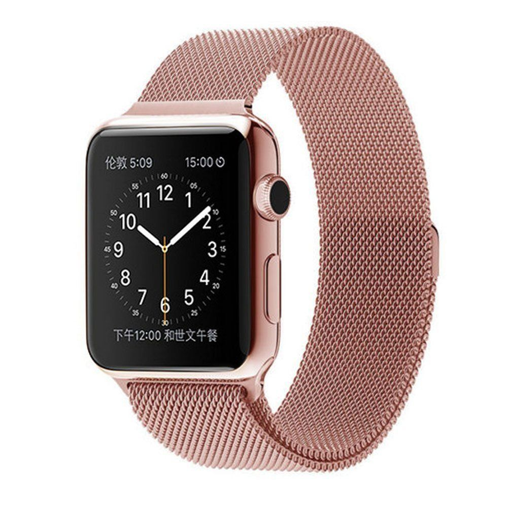 TESLASZ 38MM ROSE GOLD MILANESE LOOP FOR APPLE WATCH 34