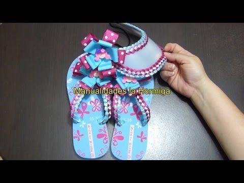 como decorar sandalias con tejido en cintas paso a paso no. 333 Manualidadeslahormiga - YouTube