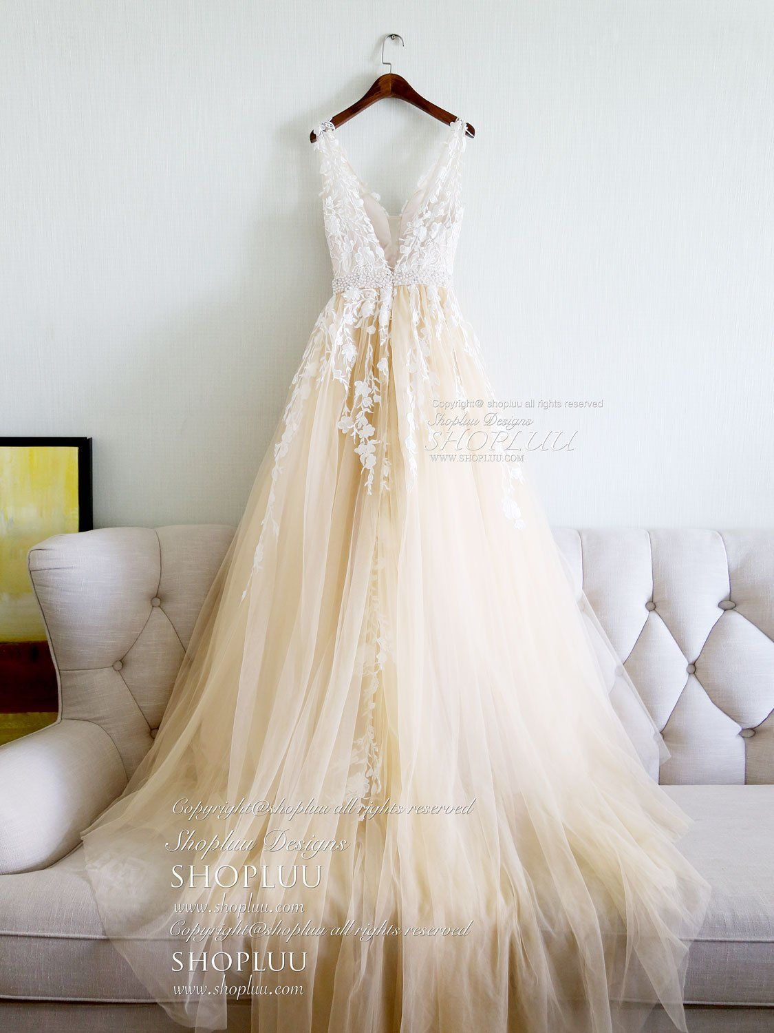Champagne v neck tulle lace applique long prom dress ac6083011623