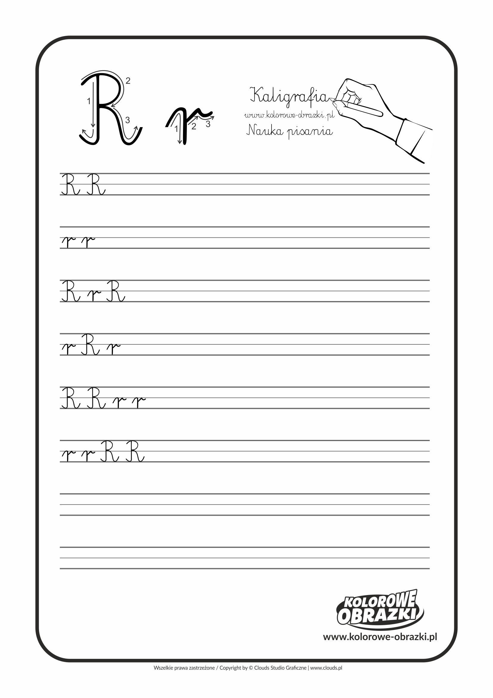 Kaligrafia Dla Dzieci Cwiczenia Kaligraficzne Litera R Nauka Pisania Litery R Letters For Kids Calligraphy For Kids Cool Coloring Pages