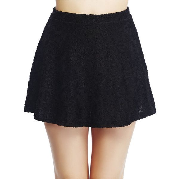 Lace Skater Skirt (17 CAD) ❤ liked on Polyvore featuring skirts, lace skirt, wet seal skirts, floral print skater skirt, lace skater skirt and lace circle skirt