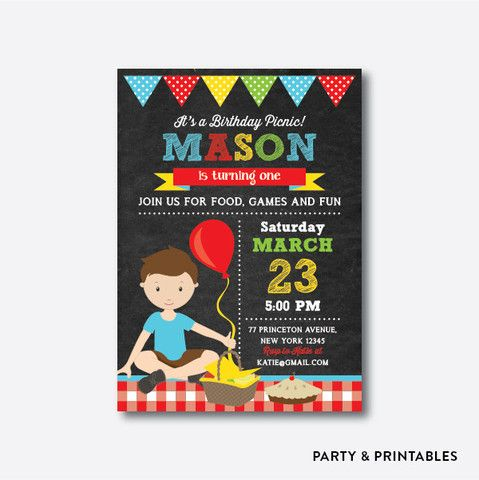 Picnic boy chalkboard kids birthday invitation personalized ckb picnic birthday invitation spring gifts beautiful diy spring time new year filmwisefo