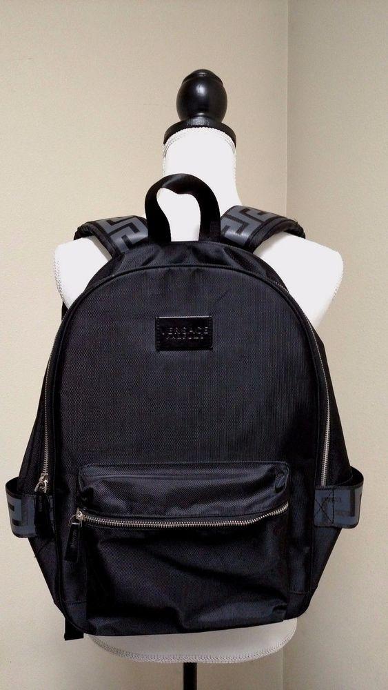 Versace Parfums Black Greca Design Backpack Black Nice Used