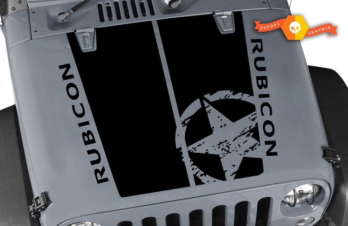Kit For Jeep Rubicon Wrangler Hood Badge Vinyl Decal Sticker Graphics 2007 2018 Vinyl Decal Stickers Jeep Vinyl Decals