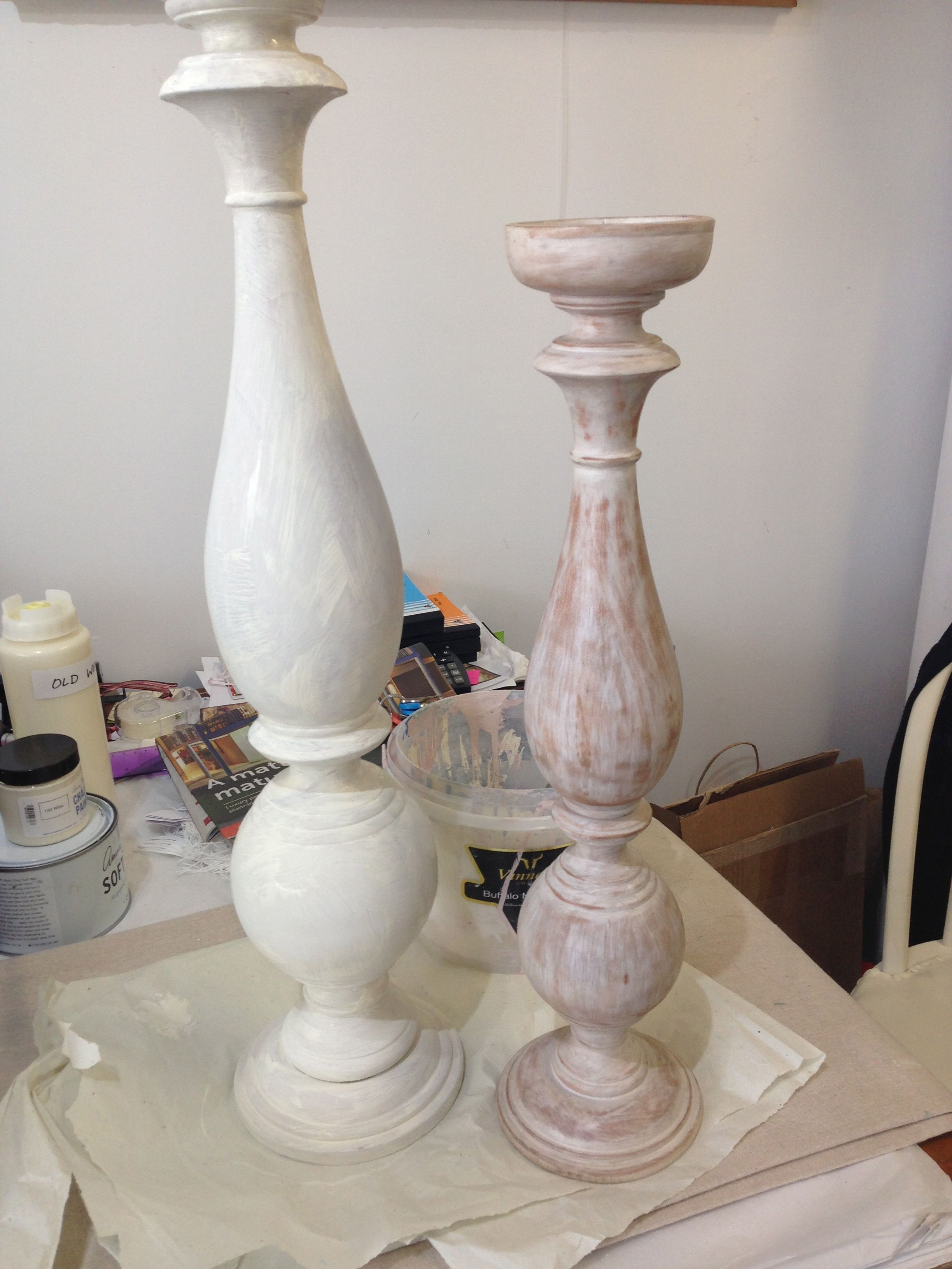 Wooden candle holders Before and After coat painted in Old